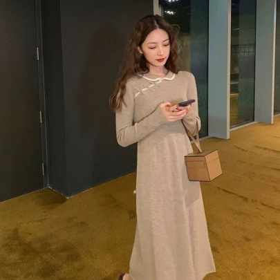 Long Over-the-knee Knitted Dress Nihaostyles Wholesale Clothing Vendor NSFYF76641