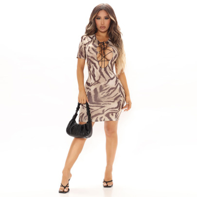Women's Lace-up Printed Hollow Dress Nihaostyles Clothing Wholesale NSFR76704