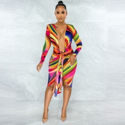 Women's Printed V-neck Tie Rope Dress Nihaostyles Clothing Wholesale NSYNS76746