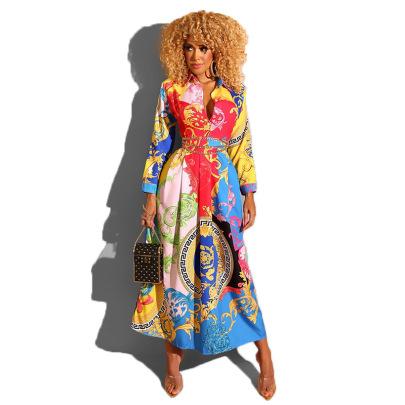 Women's Printed Long Sleeve Shirt Dress Nihaostyles Clothing Wholesale NSXHX76750