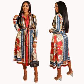 Women's Ethnic Style Printing Long-sleeved Shirt Dress Nihaostyles Clothing Wholesale NSXHX76751