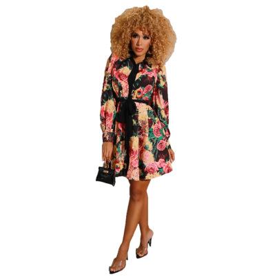 Women's Long-sleeved Printed Pleated Shirt Dress Nihaostyles Clothing Wholesale NSXHX76753