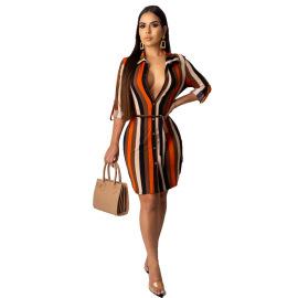 Women's Striped Shirt Dress Nihaostyles Clothing Wholesale NSXHX76755