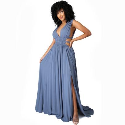 Women's Pure Color V-neck Ice Silk Dress Nihaostyles Clothing Wholesale NSXHX76762