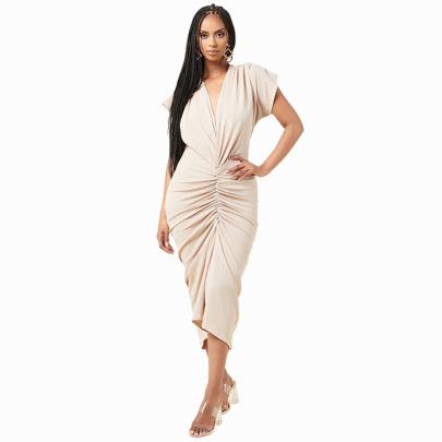 Women's Solid Color V-neck Dress Nihaostyles Clothing Wholesale NSXHX76772
