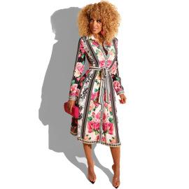 Women's Long Sleeve Printed Shirt Dress Nihaostyles Clothing Wholesale NSXHX76777