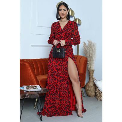 Women's Printed Slit V-neck Long Sleeve Dress Nihaostyles Clothing Wholesale NSXHX76779