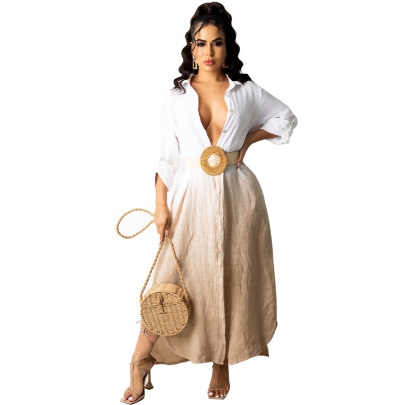 Women's Long Sleeve Gradient Color Dress Nihaostyles Clothing Wholesale NSXHX76780