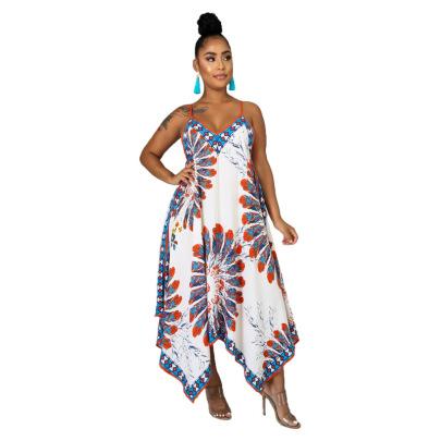 Women's V-neck Printing Irregular Big Dress Nihaostyles Clothing Wholesale NSXHX76781