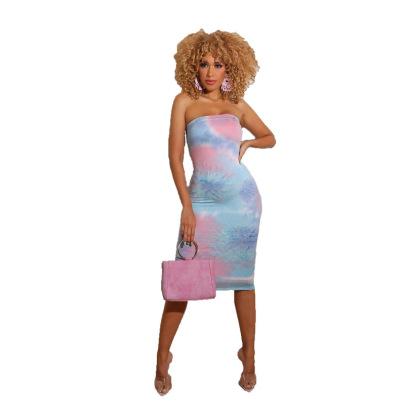 Women's Tie-dye Tube Top Dress Nihaostyles Clothing Wholesale NSXHX76785