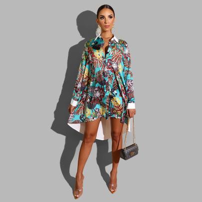 Women's Stitching Printed Irregular Shirt Dress Nihaostyles Clothing Wholesale NSXHX76789