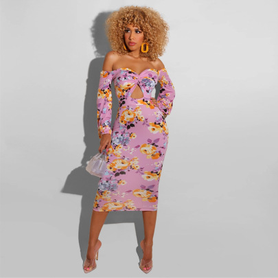 Women's Floral Printing Off-the-shoulder Dress Nihaostyles Clothing Wholesale NSXHX76793