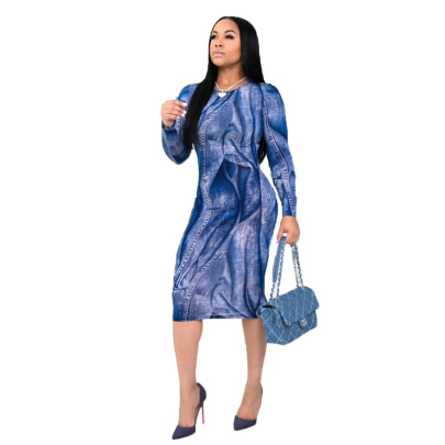 Women's Long-sleeved Denim Printed Dress Nihaostyles Clothing Wholesale NSXHX76794