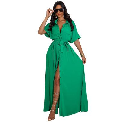 Women's Green Loose Shirt Dress Nihaostyles Clothing Wholesale NSXHX76798