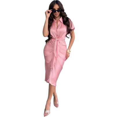 Women's Solid Color Casual Shirts Dress Nihaostyles Clothing Wholesale NSXHX76799