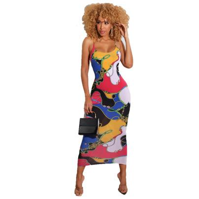 Women's Print Strap Dress Nihaostyles Clothing Wholesale NSXHX76805