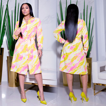 Women's Long-sleeved Plus Size Shirt Dress Nihaostyles Clothing Wholesale NSXHX76808