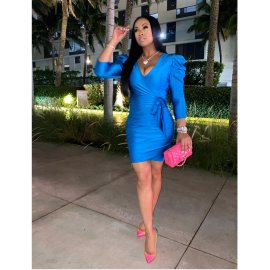 Women's V-neck Puff Sleeve Slim Dress Nihaostyles Clothing Wholesale NSXHX76809