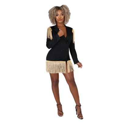 Women's V-neck Tassel Slim Dress Nihaostyles Clothing Wholesale NSXHX76813