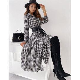 Long-sleeved Plaid Belt Oversize Dress Nihaostyles Clothing Wholesale NSJIM77087