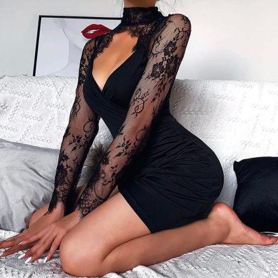 Ladies' Lace Stitching Long-sleeved Dress Nihaostyles Clothing Wholesale NSXPF71677