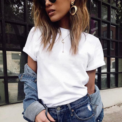 Women's Solid Color Short-sleeved T-shirt Nihaostyles Clothing Wholesale NSYKD71834