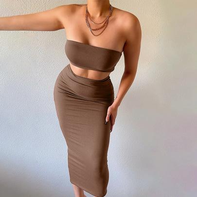 Tube Top Slim Slimming Hip Skirt Set Nihaostyles Wholesale Clothing Vendor NSXPF71838