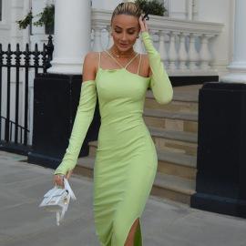 Fashion Finger Sets Sling Split Mid-length Dress Wholesale Clothing Vendor Nihaostyles NSXPF71847