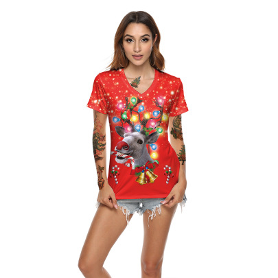 Red Christmas Reindeer Digital Printing V-neck Short-sleeved Top Wholesale Clothing Vendor Nihaostyles NSXPF71859