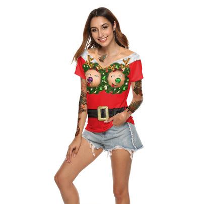 Christmas Party Printing Loose V-neck T-shirt Wholesale Clothing Vendor Nihaostyles NSXPF71861
