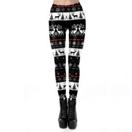 Deer Christmas Print Stretch Leggings Wholesale Clothing Vendor Nihaostyles NSXPF71864