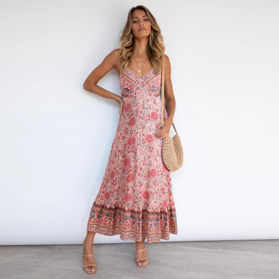 Women's Bohemian Sling Floral Dress Nihaostyles Clothing Wholesale NSSA71892