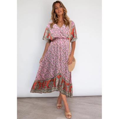 Women's Summer Bohemian Short-sleeved Floral Dress Nihaostyles Clothing Wholesale NSSA71893