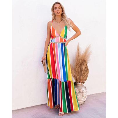 Women's Rainbow Strip Dress Nihaostyles Clothing Wholesale NSSA71895