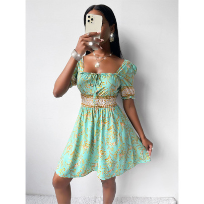 Women's Backless Short-sleeved Printed Dress Nihaostyles Clothing Wholesale NSSA71898