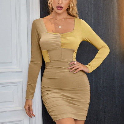 Pleated Slim Stitching Contrast Color Long-sleeved Dress Nihaostyles Clothing Wholesale NSGMY71987