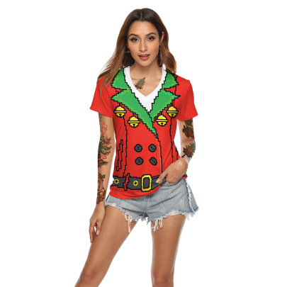 Red Bells Digital Print Christmas V-neck T-shirt Wholesale Clothing Vendor Nihaostyles NSXPF71858