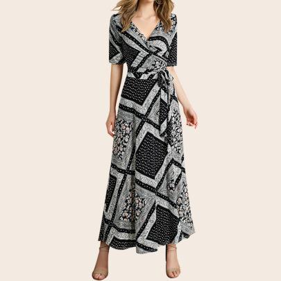 Plus Size Women's Trendy Printing Waist Dress Nihaostyles Clothing Wholesale NSJR70573