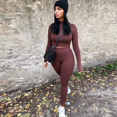 Casual Slim Long-sleeved Sports Two-piece Set Nihaostyles Wholesale Clothing Vendor NSYF72046