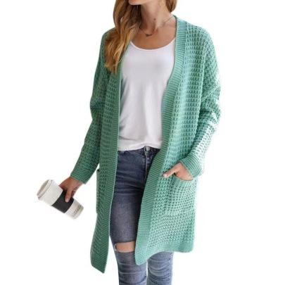 Mid-length Loose Knitted Cardigan Nihaostyles Wholesale Clothing Vendor NSYF72048