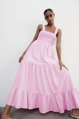Women's Thin Poplin Midi Dress Nihaostyles Clothing Wholesale NSAM72053