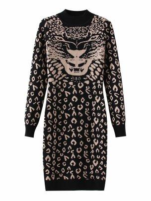 Women's Round Neck Slim Knit Jacquard Long Sleeve Dress Nihaostyles Clothing Wholesale NSAM72056