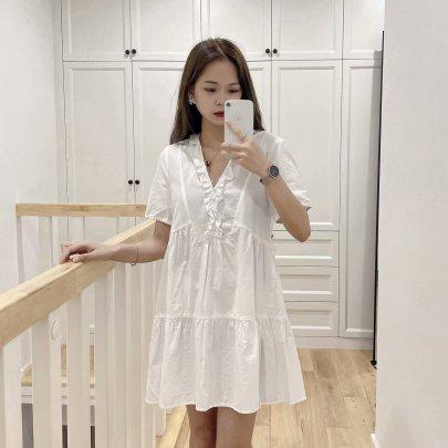 Women's Layered Decoration White Skirt Dress Nihaostyles Clothing Wholesale NSAM72078