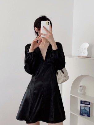 Women's Silk Satin Texture Waist Dress Nihaostyles Clothing Wholesale NSAM72084