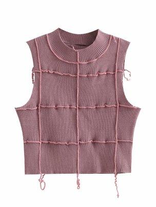 Irregular Stitching Tassel Cropped Knitted Vest Nihaostyles Clothing Wholesale NSAM72093