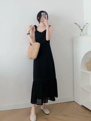 Black Shoulder Strap Mid-length Sling Dress Nihaostyles Clothing Wholesale NSAM72104