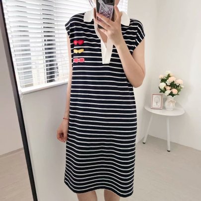 Women's New Striped Back Printing Dress Nihaostyles Clothing Wholesale NSAM72125