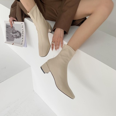 Square Toe Thick Heel Soft Leather Boots Nihaostyles Wholesale Clothing Vendor NSCA72150