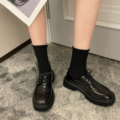 Thick-soled Black Retro Patent Leather Shoes Nihaostyles Wholesale Clothing Vendor NSCA72152