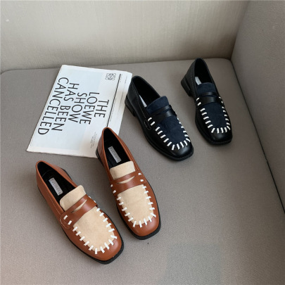 Hit Color Woven Square Toe Leather Shoes Nihaostyles Wholesale Clothing Vendor NSCA72155